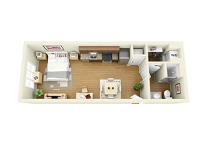 1 Bed 1 Bath Floor Plan at The Langston, Cleveland, Ohio