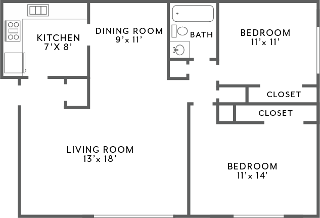 2Bed1Bath_960 Floor Plan 4