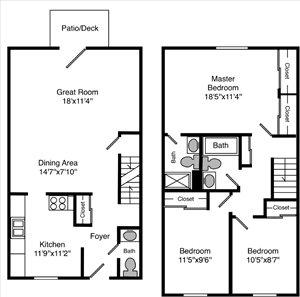 3 Bedroom 2.5 Bathrooms
