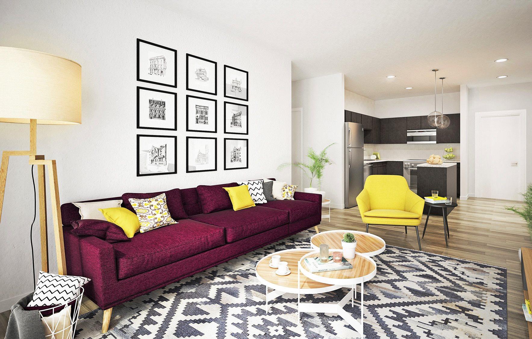 Living Room at Soll Apartments Des Moines IA
