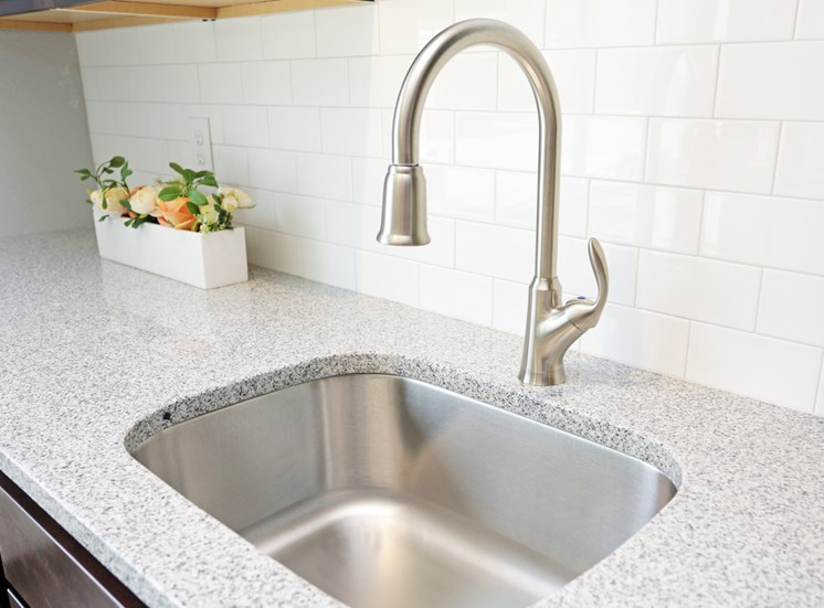 Quartz Countertop in the Kitchen at Soll Apartments Des Moines IA