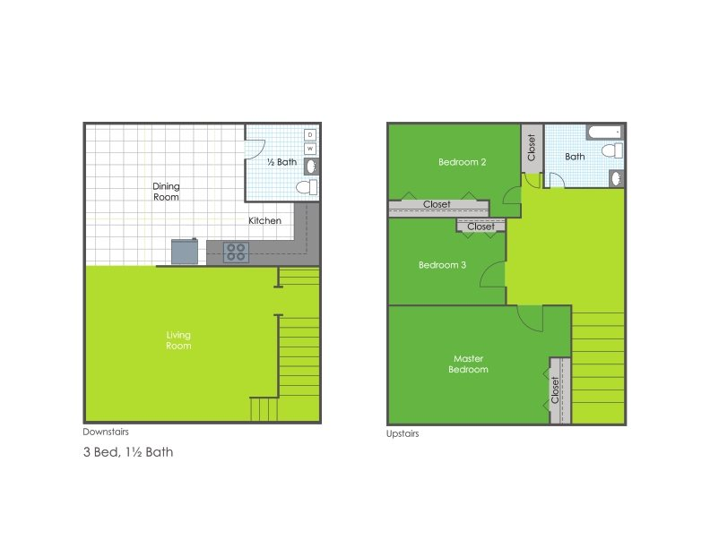 Three Bedroom One Bath w/Basement Floor Plan 2