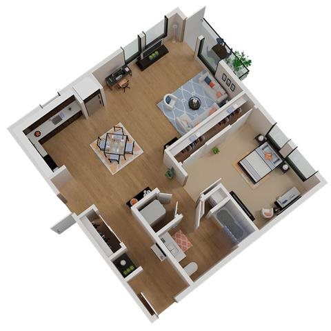 CA_SantaRosa_Annadel_PlanA2b_Floor Plan 1 Bedroom 1 Bathroom