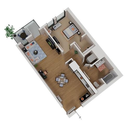 CA_SantaRosa_Annadel_Plan_A1a_Floor Plan 1 Bedroom 1 Bathroom