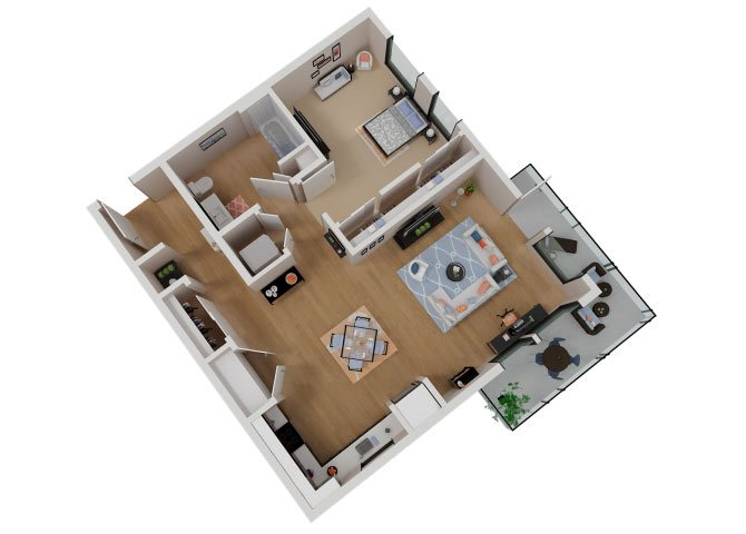 CA_SantaRosa_Annadel_Plan_A2a_Floor Plan 1 Bedroom 1 Bathroom