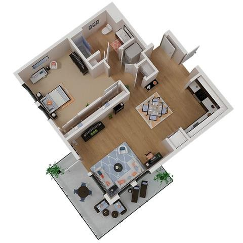 CA_SantaRosa_Annadel_Plan_A3_Floor Plan 1 Bedroom 1 Bathroom