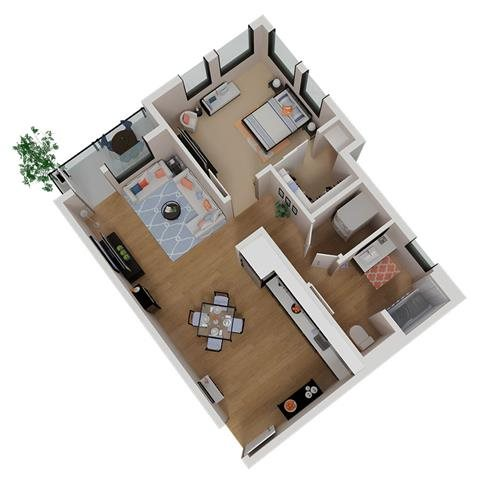 CA_SantaRosa_Annadel__PlanA1b_Floor Plan 1 Bedroom 1 Bathroom