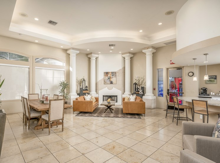 Sonterra Apartments at Paradise Valley - Clubhouse with fireside seating