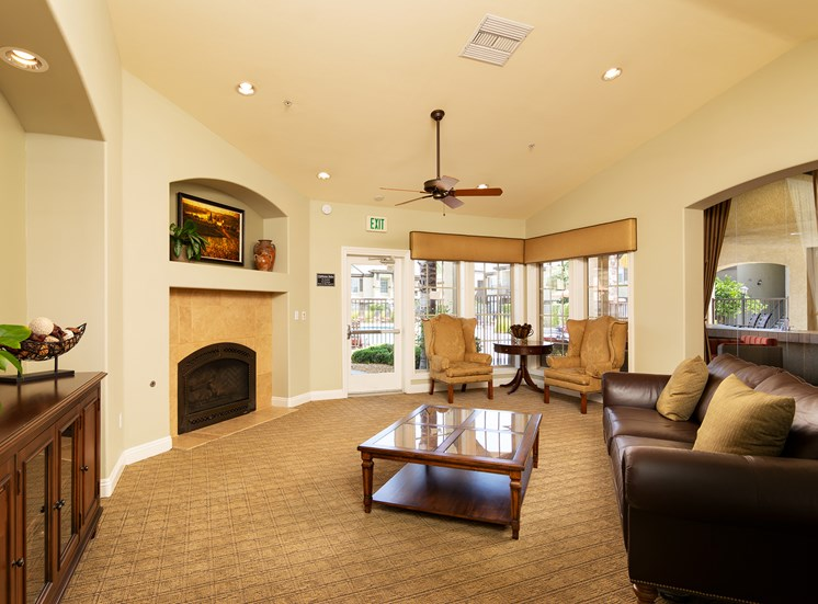 Barton Vineyard Apartments clubhouse with fireside lounge