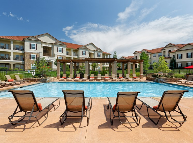 Cordillera Ranch Apartments - Expansive poolside lounge deck