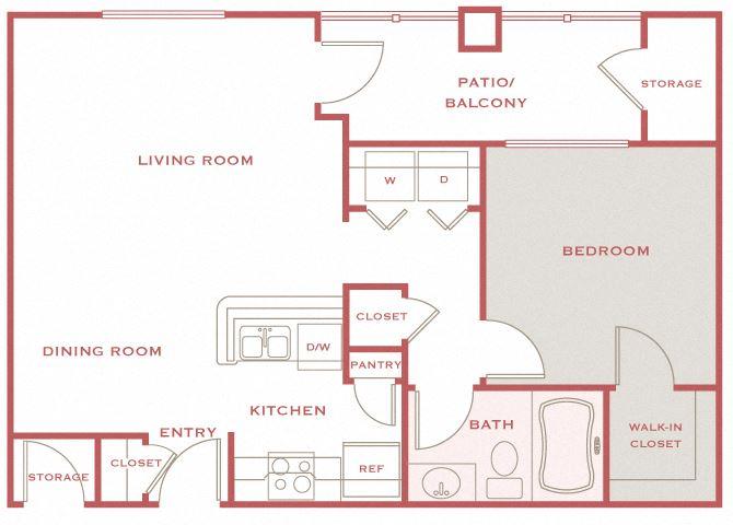 Cordillera Ranch A2 Bello 1 bedroom floor plan