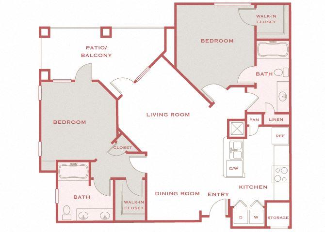 Cordillera Ranch B3 Carilla 2 bedroom floor plan