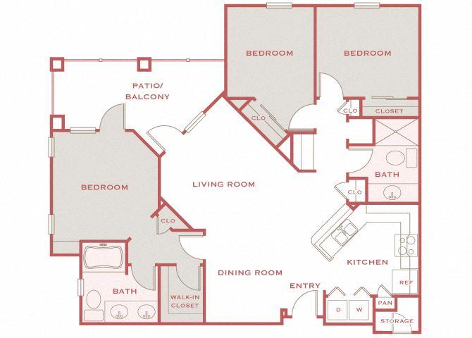 Cordillera Ranch C Estela 3 bedroom floor plan
