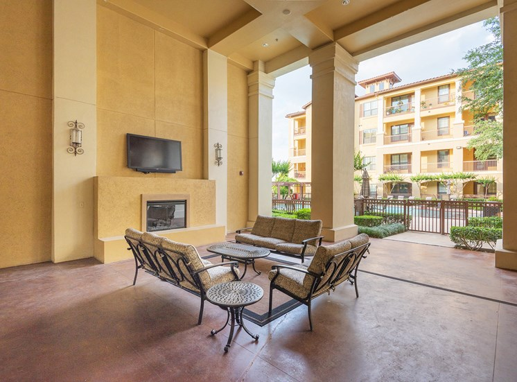 Monterra Las Colinas Apartments covered outdoor cabana with fireplace