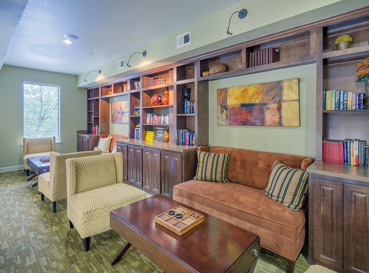 Monterra Las Colinas Apartments library loft with parlor games