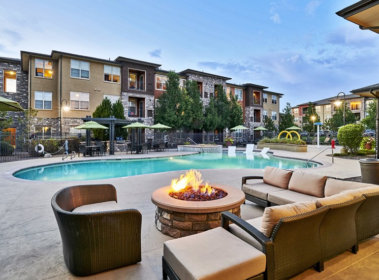 Acadia at Cornerstar Apartments - Poolside fire pit