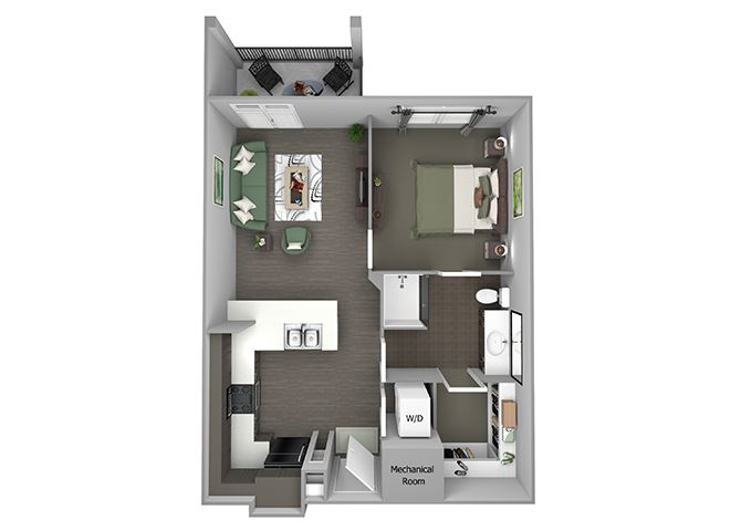 23Hundred at Berry Hill - A2 - 1 bedroom and 1 bath - 3D