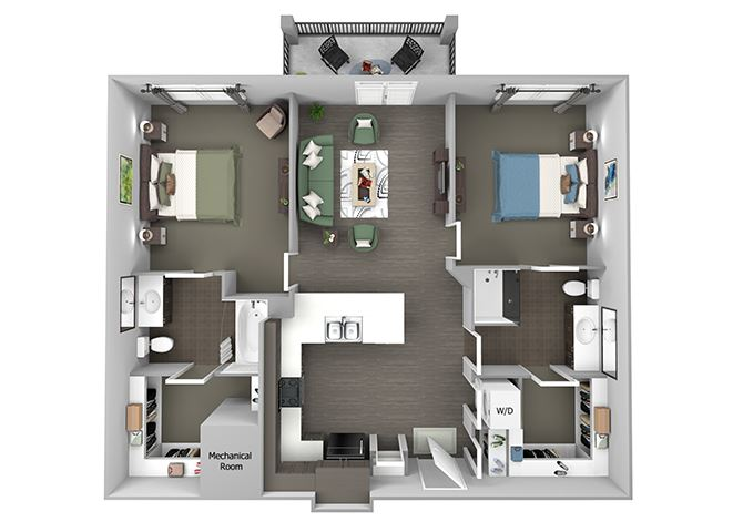 23Hundred at Berry Hill - B1 - 2 bedroom and 2 bath - 3D