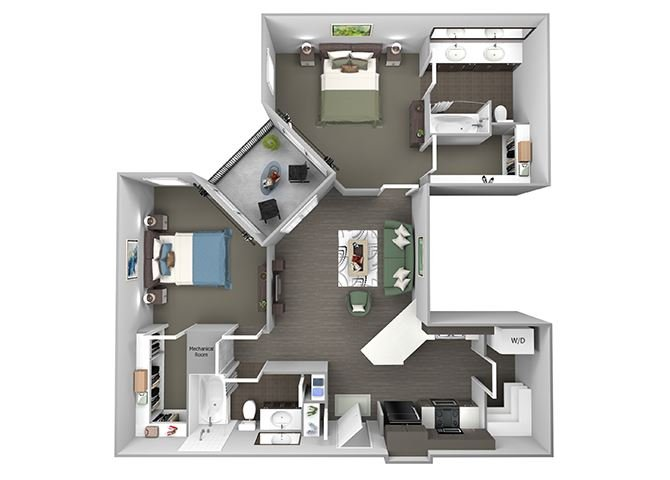 23Hundred at Berry Hill - B2 - 2 bedroom and 2 bath - 3D