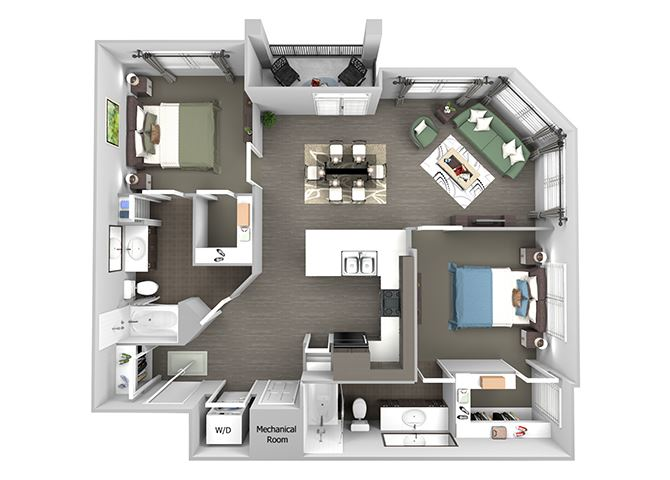 23Hundred at Berry Hill - B4 - 2 bedroom and 2 bath - 3D