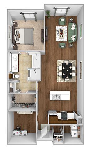 Cityplace Heights Apartments floor plan - A8 - 1Bedroom 1Bathroom - 3D