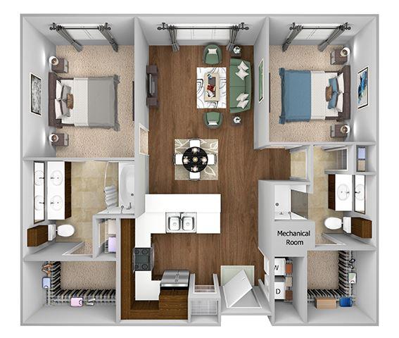 Cityplace Heights Apartments floor plan - B1 - 2Bedroom 2Bathroom - 3D