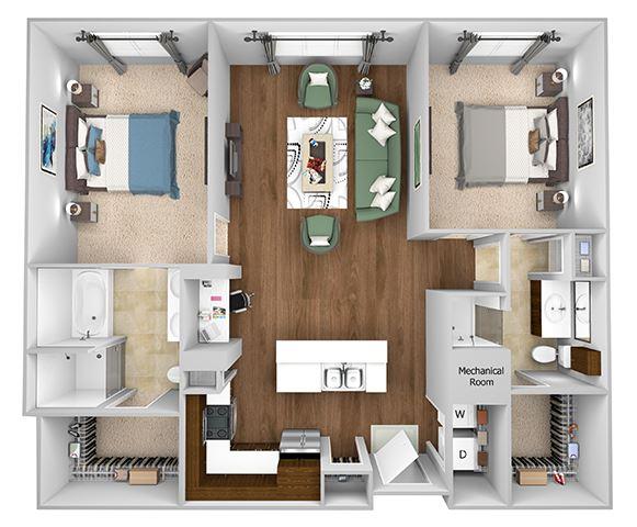 Cityplace Heights Apartments floor plan - B2 - 2Bedroom 2Bathroom - 3D