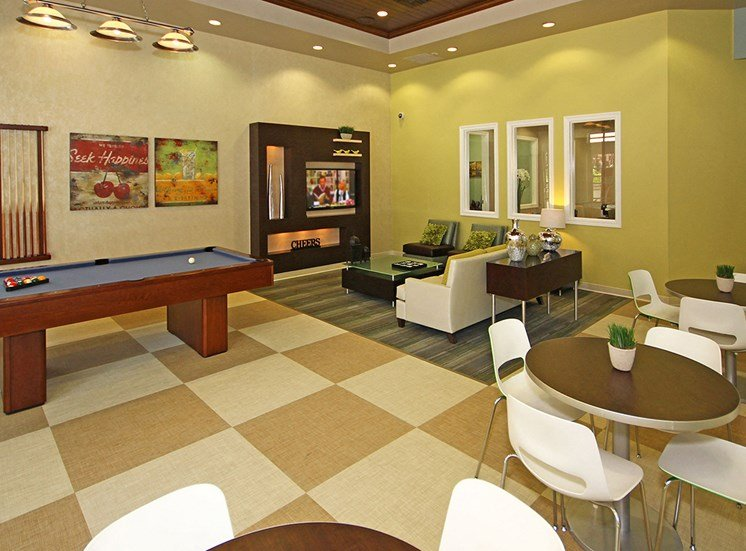 Game and billiards room at Hills of Valencia apartments