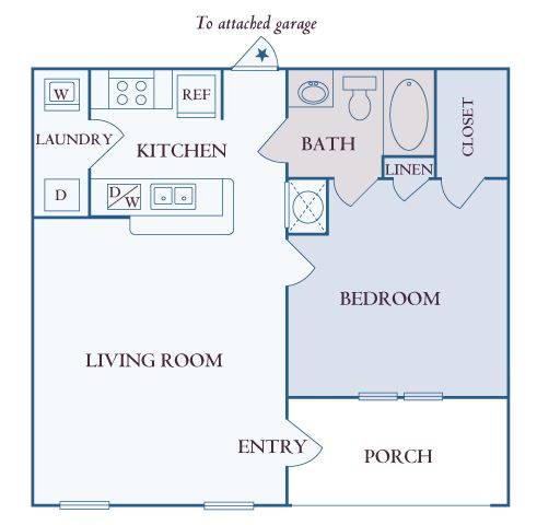 Carrington Place at Shoal Creek - A1 - 1 bedroom 1 bathroom - 2D