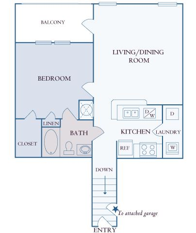 Carrington Place at Shoal Creek - A2 - 1 bedroom 1 bathroom - 2D