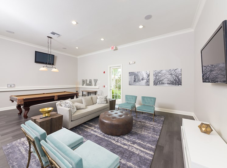 Courtney Station Apartments billiard room and social lounge