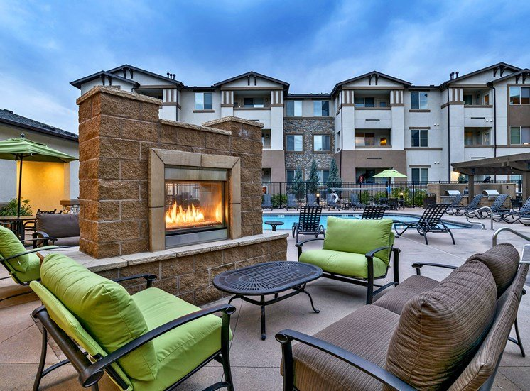 First and Main Apartments outdoor fireplace and lounge area