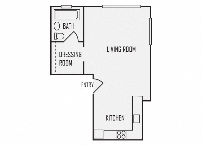 A1 floor plan for The KC High Line Apartments in Kansas City, MO