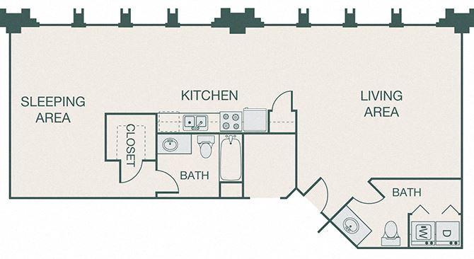 The Kirby - A14 - Penthouse 6 - 1 bedroom - 1 bath