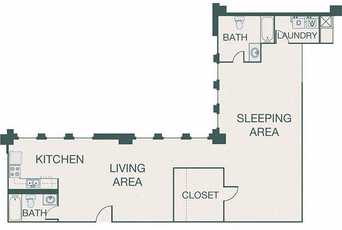 The Kirby - A17 - Penthouse 2 - 1 bedroom - 2 baths
