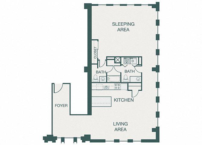 The Kirby - A18 - Adolphus - 1 bedroom - 1.5 bathroom