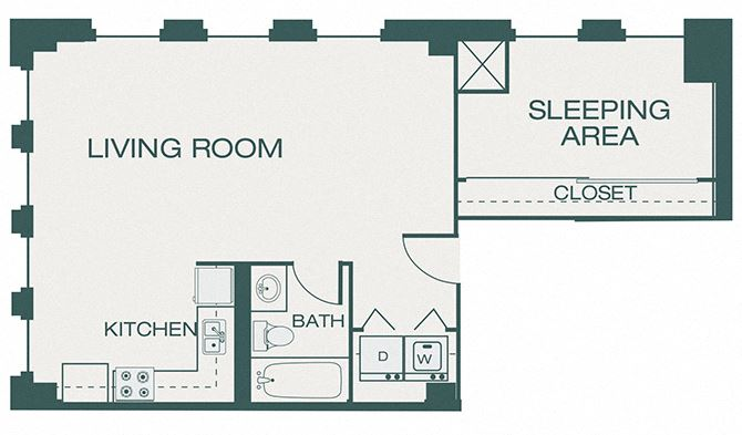 The Kirby - A9 - The Ross - 1 bedroom - 1 bath