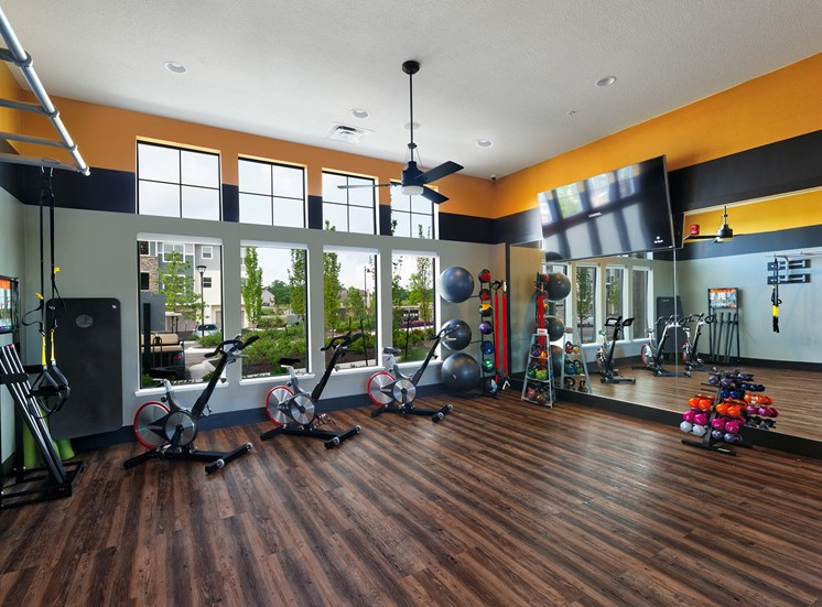 The Haven at Shoal Creek spin bikes and weights