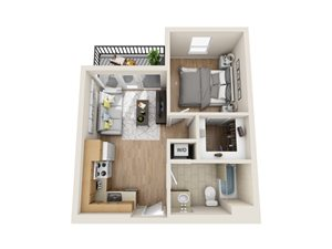 Unit A2 - 1 Bedroom/1 Bath