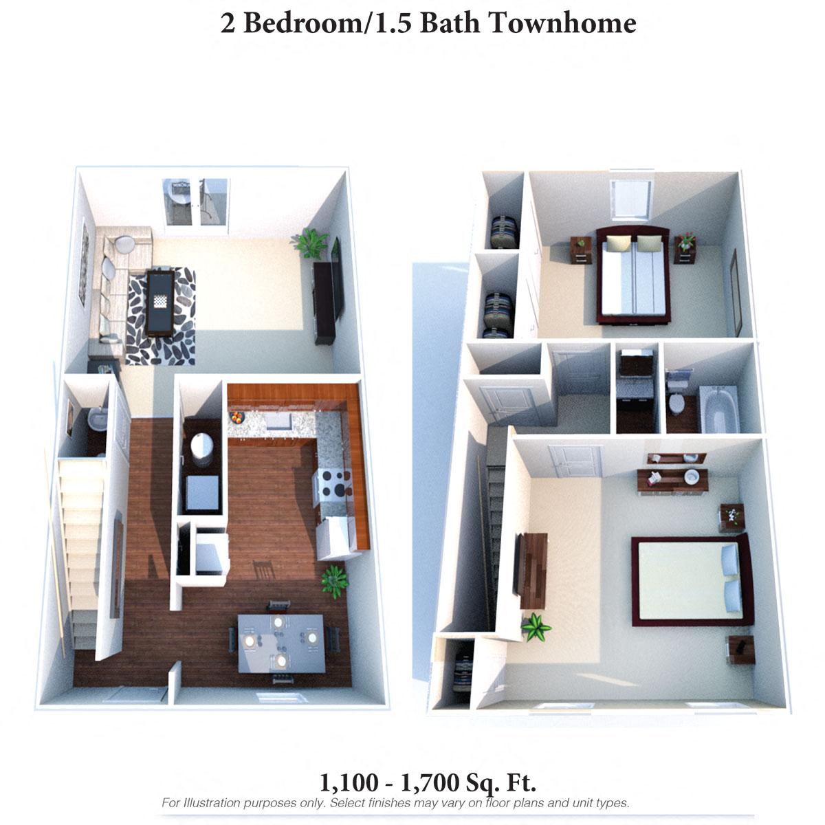 2 Bedroom 1.5 Bath Townhome Floor Plan 1