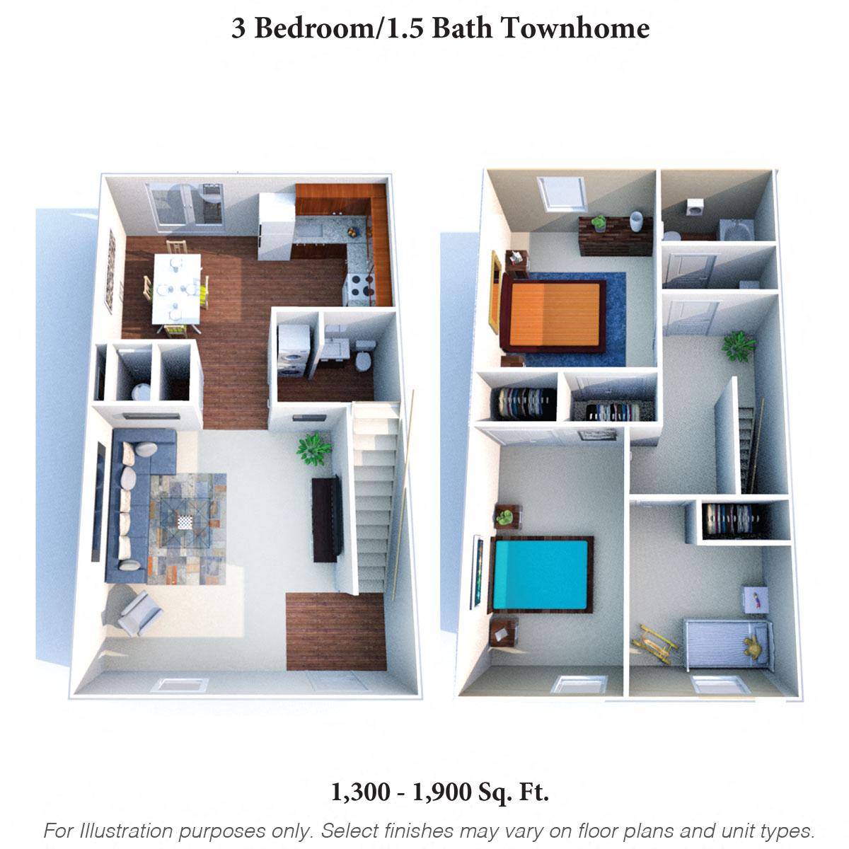 3 Bedroom 1.5 Bath Townhome Floor Plan 2