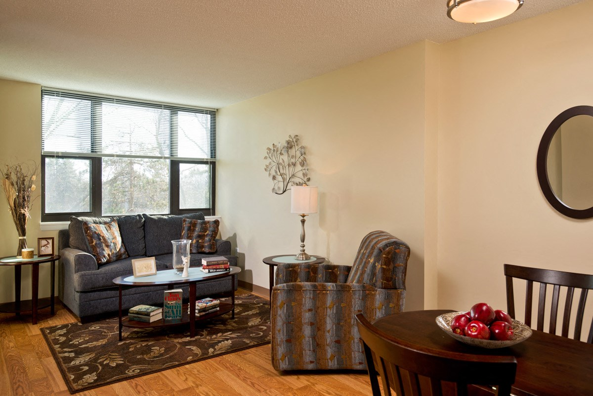 Apartment living room at Ohav Sholom Apartments in Albany, NY