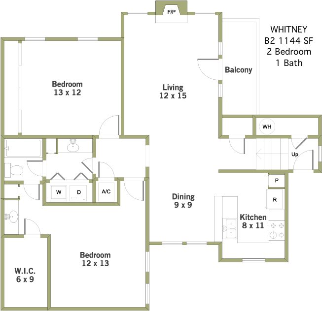Whitney 2 Bedroom 1 Bathroom Apartment