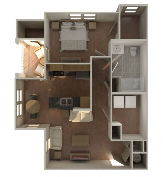 1 Bed 1 Bath Loft Floor Plan 1