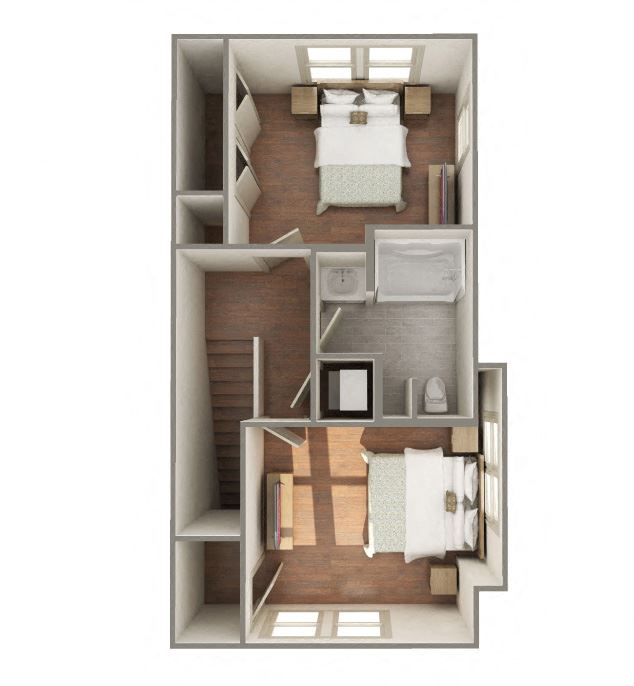 2 Bedroom 1 Bathroom B2 Style-Furnished 3D Floorplan-The Lofts at Southside, Durham, NC