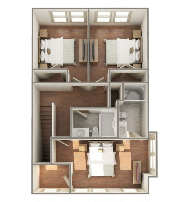 3 Bedroom 2 Bathroom-Upstairs-Furnished 3D Floorplan-The Lofts at Southside, Durham, NC