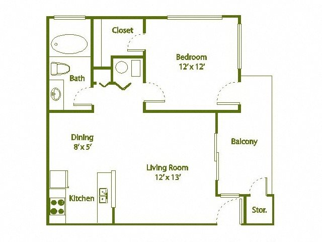 1 Bedroom, 1 Bath 590 sqft Floor Plan 1