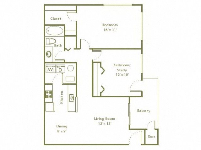 2 Bedroom, 1 Bath 884 sqft Floor Plan 3