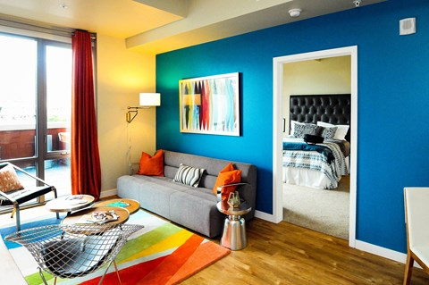 Living area adjacent to bedroom