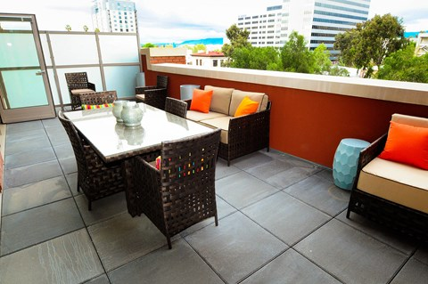Balcony seating and view